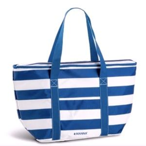 🆕 NEW Insulated Blue-Striped Picnic or Beach Tote Bag by Manna Hydration